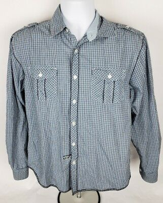 6592c5d6 Drill Clothing Company Mens Button Front Shirt Sz S Sm Blue Plaid Twin  Pocket