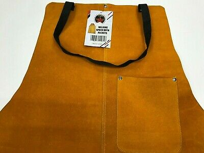 Double Stitched Split Leather Welding Apron With 4 Pockets &Tie down Strap 19X31
