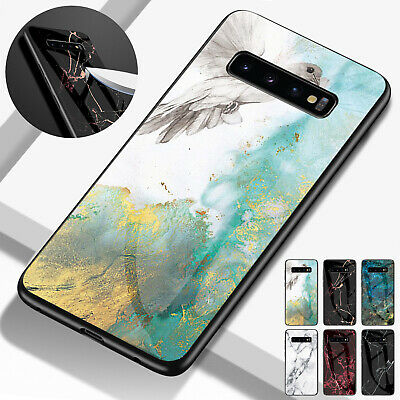 For Samsung S8 S9 Plus Luxury Marble Thin TPU Bumper Glass Hard Back Case Cover