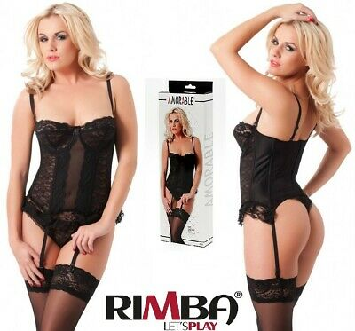 9123c4ca9a788 'Amorable' by Rimba Lingerie Black Lace Basque,String, & Stockings (R1024. '