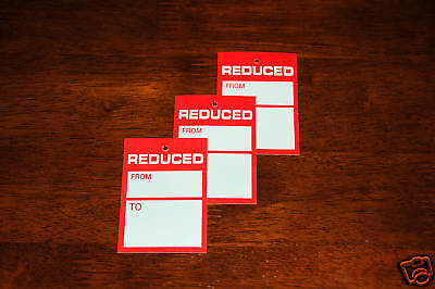 100 'Reduced'' Tagging Gun Pricing Tickets 78Mm X 52Mm Swing Labels