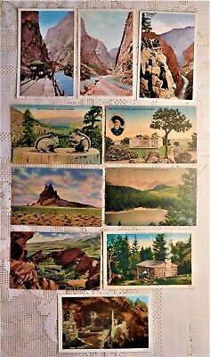 LOT OF 10 VINTAGE POST CARDS - EARLY 20th CENTURY - COLORADO / ROCKY MOUNTAINS