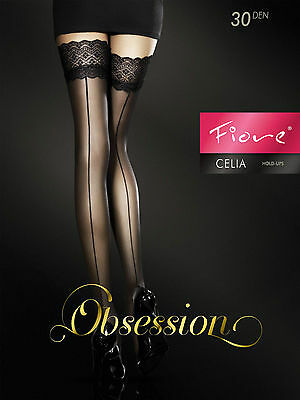 Fiore Celia Back Seam Stay Up Thigh High Stockings Fine European Cappuccino