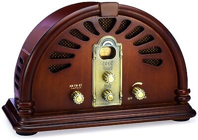 ClearClick Classic Vintage Retro Style Handmade Wooden AM/FM Radio w/ Bluetooth