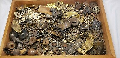 Huge VTG Architectural Salvage Drawer Pulls Knobs Brass Wood Wheel Castors ETC !