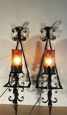 Vintage pair Spanish Revival wrought iron exterior sconces with Mica Shades