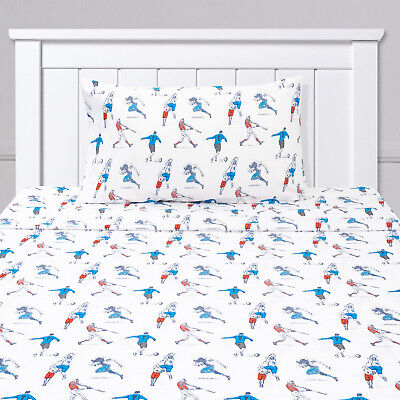 Sports Soccer Baseball, Football, Basketball Kids Sheet Set Twin, Twin XL, Full