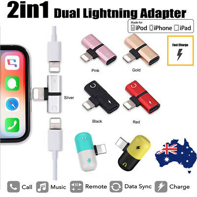iPhone X 7 8 Dual Lightning Headphone Jack Audio & Charging Adapter Splitter