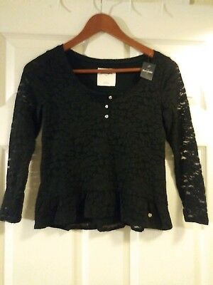 Abercrombie & Fitch Kids GIRLS BLACK LACE FRONT LONG SLEEVE SHIRT NEW