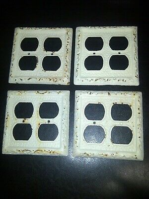 Rustic Antique White Cast Iron Outlet Plate Cover Double Plugs 4 Holes Set Of 4