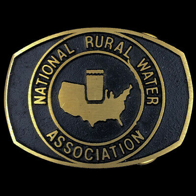 Vtg NOS National Rural Water Association NRWA Protection Brass Belt Buckle