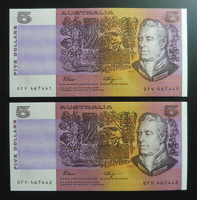 1990 $5 Five Dollar Fraser Higgins Consecutive Pair R212 UNC