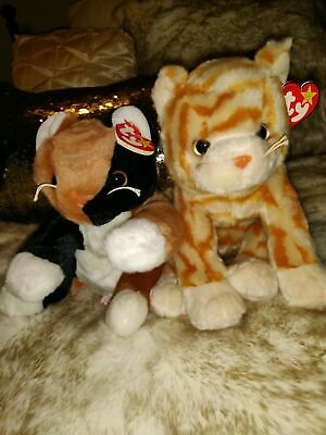 79dbf4bb2d1 Ty Beanie Buddies lot of 2 vintage Amber   Chip calico orange cat new with  tags