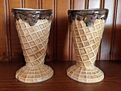 """D'Lusso Home Collection Set Of Two Waffle Cone Ice Cream Cone Holders Cups 5.5"""""""