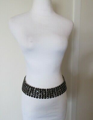 "Black Rhinestone Silver Chain Waist Belt 5 Strand 2"" Wide Adjustable 24-35"""