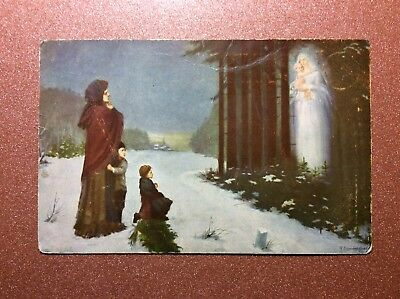 Antique PETROGRAD postcard 1915s Vision for Christmas ghost Virgo baby forest