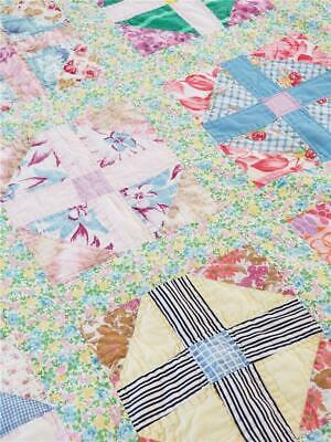 Colorful Spring Vintage Quilt Patchwork Hand Quilted