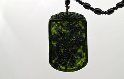 Fine Natural Dark green Hand-carved Chinese Jade Pendant -Free Necklace dragon