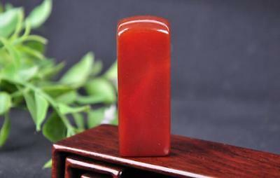 Fine ANTIQUE CHINESE AGATE STONE CHOP WAX SEAL in ORIGINAL LEATHER CASE