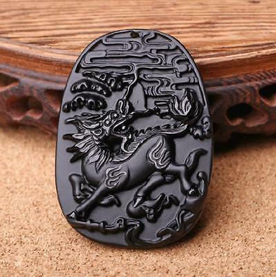 Fine Chinese Natural obsidian stone dragon pendant good luck charm necklace