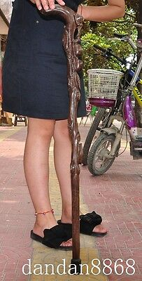 """35"""" Old Chinese huanghuali wood pure hand-carved crutch Cane Wand Walking stick"""