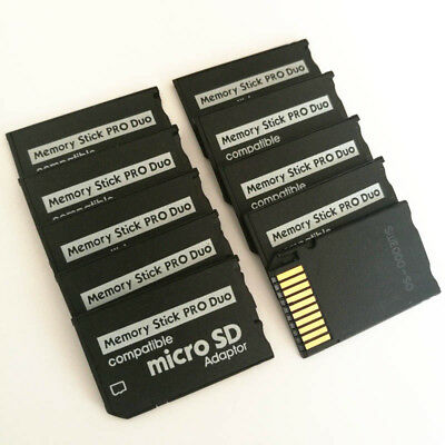 10Pcs Micro SD SDHC TF to Memory Stick MS Pro Duo Reader PSP Card Converter