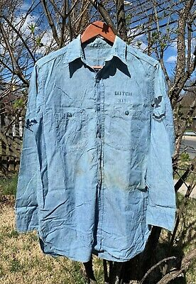 Vintage 40s WWII USN US Navy Sailors Chambray Stencil Uniform Blue Denim Shirt.