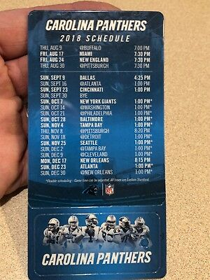 Carolina Panthers Pocket 2018 Schedule/Magnet and Keychain Schedule -New 1 piece