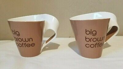 Lot of 2 Villeroy & Boch BIG BROWN COFFEE Coffee Mugs Cups Luxembourg Fine China