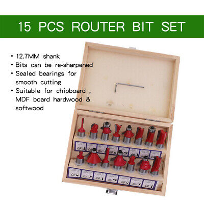 """15Pcs 1/2"""" Shank Router Bit Set Tungsten Carbide Rotary Tool with Wooden Box"""