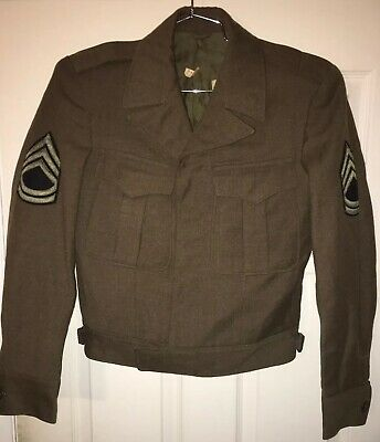 Vintage WWII US Army Wool M-1940s Field Jacket OD Military Patches