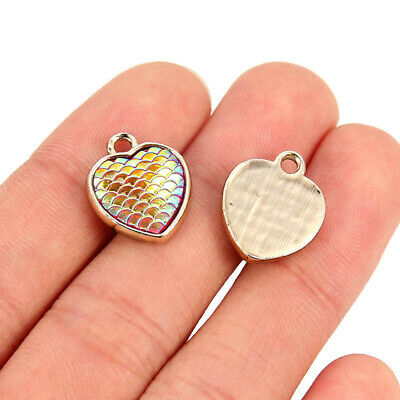 10Pcs Round/Heart Alloy Resin Mermaid Scale Charms Pendant DIY Jewelry Findings