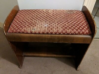 Antique wooden piano stool seat