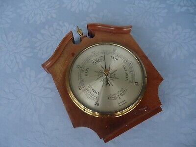 vintage wall  barometer comitti of london made in england wood and brass