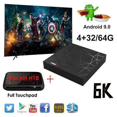 2019 6K 3D Android 9.0 T95 Max 32/64G Smart TV Box Quad Core WIFI +Keyboard H18+