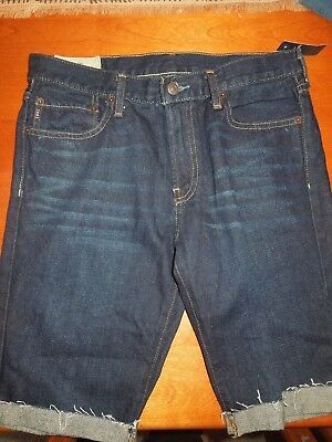 NWT Boys Abercrombie & Fitch Skinny Dark Wash Cuffed Frayed Denim Shorts SZ 16