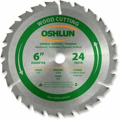Oshlun SBW-060024 Circular Saw Blades 6-Inch 24 Tooth ATB General Purpose and