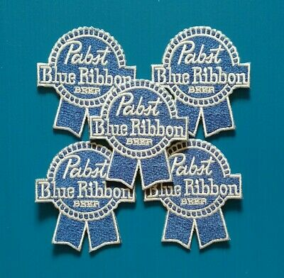 5 LOT PABST BLUE RIBBON Embroidered Iron Or Sewn On BEER Patches Free Ship