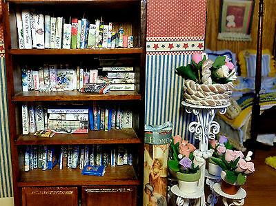 Miniature Books Library Bookshelf Accessories 30pc Set Dollhouse 1:12 NO BKSHELF