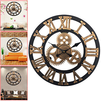 40Cm / 60Cm Skeleton Garden Wall Clock Big Roman Numerals Large Open Face Metal