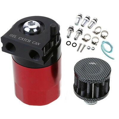 Universal Baffled Aluminum Oil Catch Breather Can System Reservoir Tank