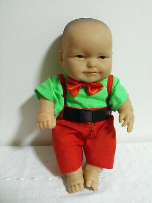 BERENGUER HARD BODY BOY DOLL, GREEN/RED OUTFIT, 13 inch - 33 cm HIGH