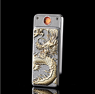 USB Electric Cigarette Rechargable Lighter Windproof Flameless Silver Dragon