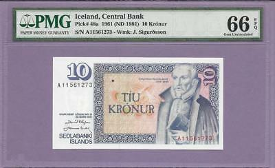 1961 Iceland, Central Bank  Pick # 48a  PMG EPQ  **SCROLL DOWN FOR SCANS**