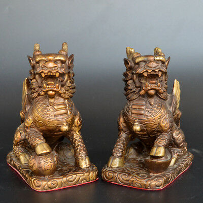 Chinese old collection handwork red copper A Pair of kylin statue