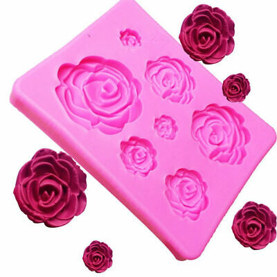 3D Silicone 7 Rose Flower Cake Mold Cookie Fondant Decoration Baking Mould New