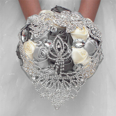 e177bdf63db Handmade Wedding Bridal Bouquet Satin Rose Clear Crystal Brooch Rhinestone  Crown