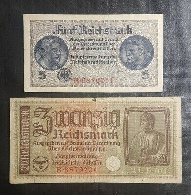 Germany 1939 5 & 20 reichsmark banknotes