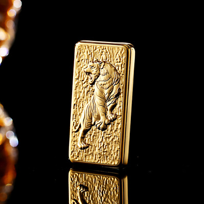 USB Electric Cigarette Rechargable Lighter Windproof Flameless Gold Tiger