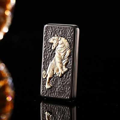 USB Electric Cigarette Rechargable Lighter Windproof Flameless Black Tiger